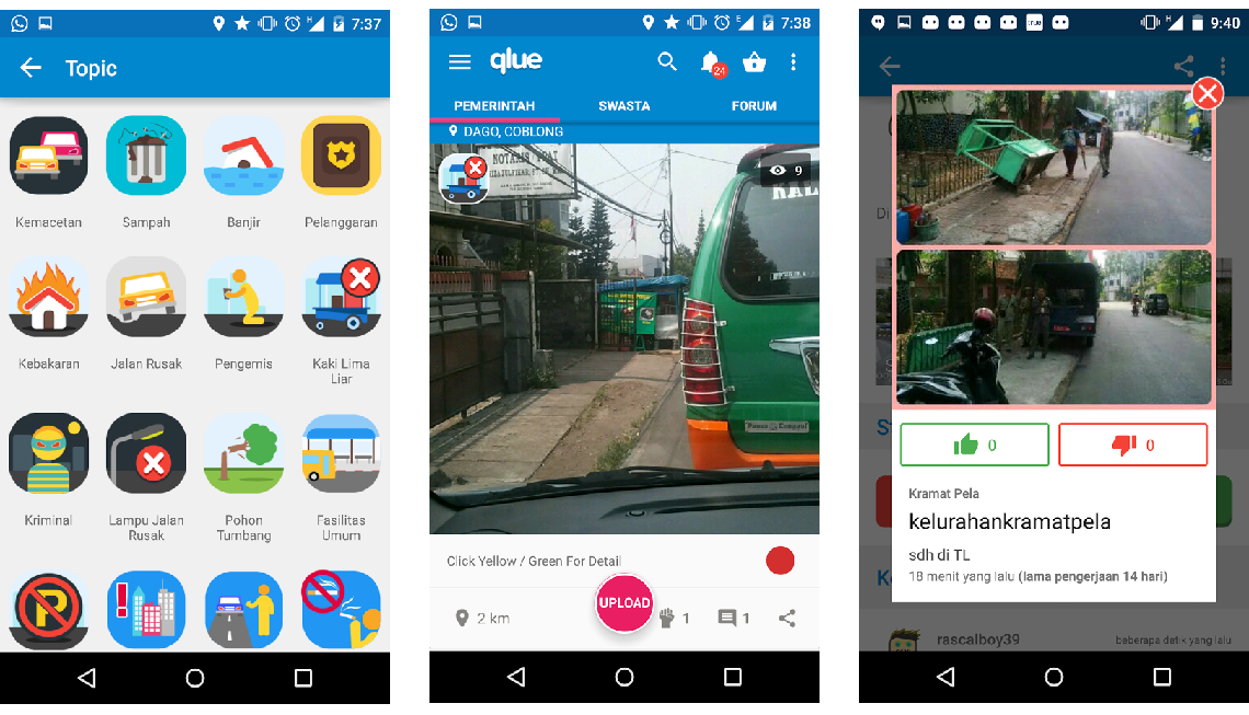 Screenshots of Qlue app