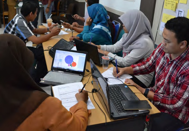 Workshop participants analysing the newly opened education data.