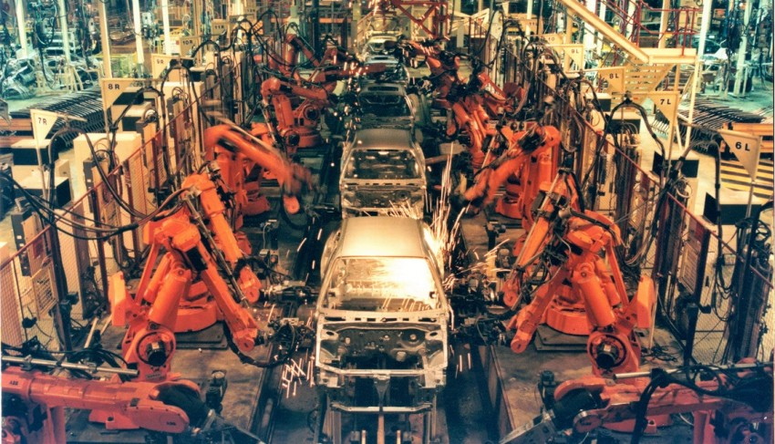 Robots on factory floor